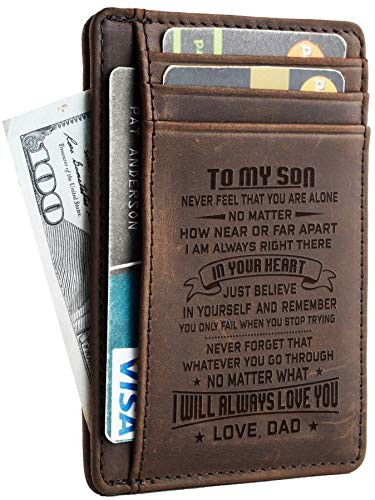 Toughergun Wife To Husband Father Mother to Son Gift Best Anniversary Christmas Birthday Gifts Slim Wallet (Father to Son CH coffee)
