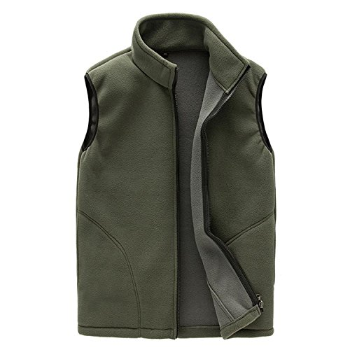 feilongzaitianba Autumn Leisure Thermal Fleece Vest Men Sleeveless Casual Bodywarmer Waistcoat Full Zip Outdoors Army Green (Large Renaissance Album)