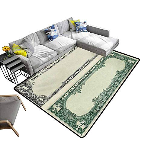(Indoor Super Absorbs Doormat Money,One Dollar Bill Buck Design American Federal Reserve Note Pattern Wealth Symbol,Pale Green Grey 48