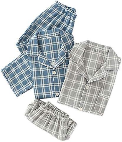 パジャマ CHJMJP パジャマは男性Pijamaやつ100%ガーゼコットンカジュアル男性長袖コージーセクシーな夏のパジャマ男性を設定します。 (Color : グレー, Size : L)
