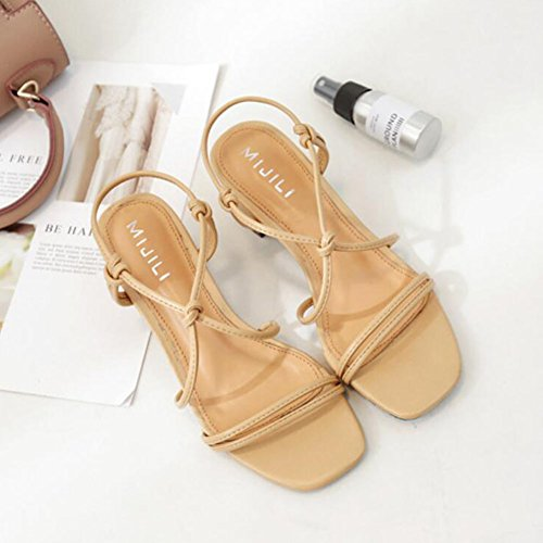 Court Shoes GAOLIXIA Toe Shoes Open Summer Pumps PU Red Strap Apricot Apricot Sandals High Black Ladies Roman Heels Thick Ankle Women qaqw7C1
