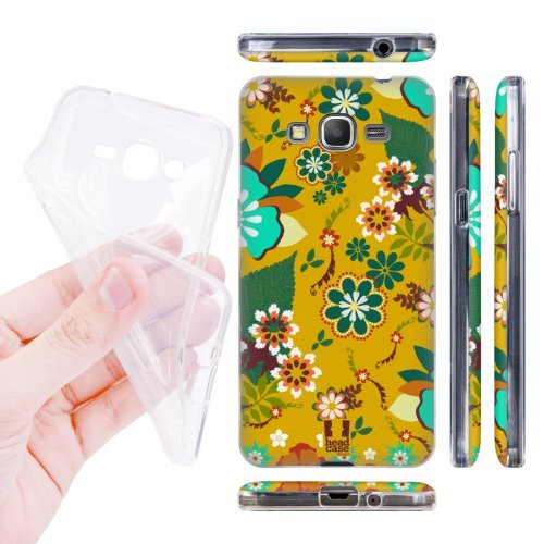 Head Case Designs Harvest Gold Botanical Ornament Soft Gel Back Case Cover for Samsung Galaxy Grand Prime 3G 4G Duos LTE G530