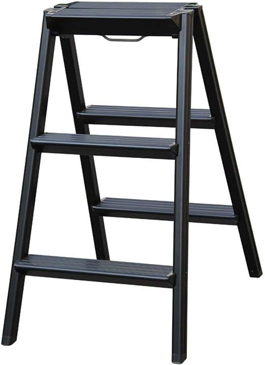 QQXX Taburete de 2 peldaños Escalera de peldaño Plegable Taburete Escalera portátil multifunción, aleación de Aluminio (Color: Negro): Amazon.es: Hogar