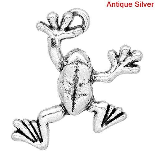 PEPPERLONELY 30pc Antiqued Silver Alloy Frog Animal Charms Pendants 25x9mm (1