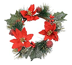 9 Inch Christmas Candle Ring With Silver and Gold Glitter, Red Poinsettia Blooms and Pine - Artificial candle Ring