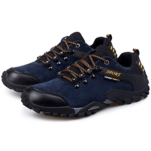 TAOFFEN Mens Lace Up Shoes Casual Shoes Sneaker Outdoor Shoes Blue 7BzmY