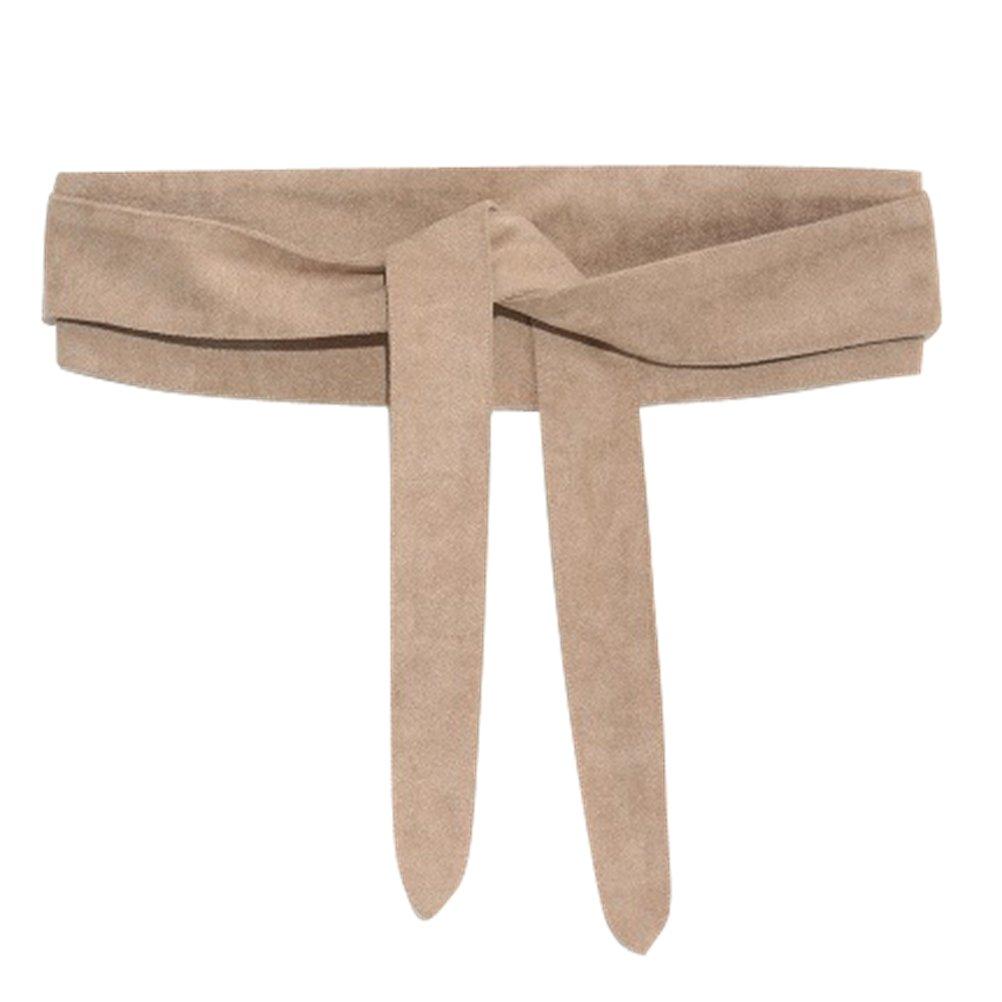 Ababalaya Women's Retro Sweet 4×80inch Ultra Wide Suede Bow Belt Girdle for Coat Dress Decoration,Khaki