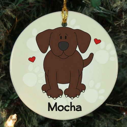 """Giftsforyounow Loved By My Chocolate Lab Personalized Ornament, 2.75"""", Ceramic Picture"""