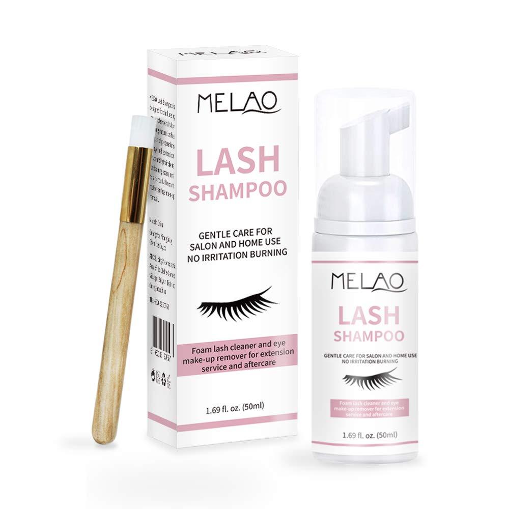 Natural Eyelash Extension Shampoo + Brush, Eyelid Foaming Cleanser, Wash Eyelashes, Remove Makeup Residue & Mascara, Lash Extension Supplies Eyelash Extension Care, Paraben & Sulfate Free -50 ml