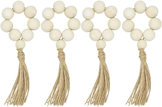Wood Bead String Wall Hanging Decor Beige Tassels Farmhouse Beads for Farmhouse Prayer Beads Wall Hanging Decor Baby Nursery Room 【US in Stock】Wood Bead Garland Set with Tassels