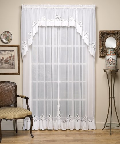 Today's Curtain Plymouth Classic Battenburg Applique Sheer Window Panel, 84-Inch, White
