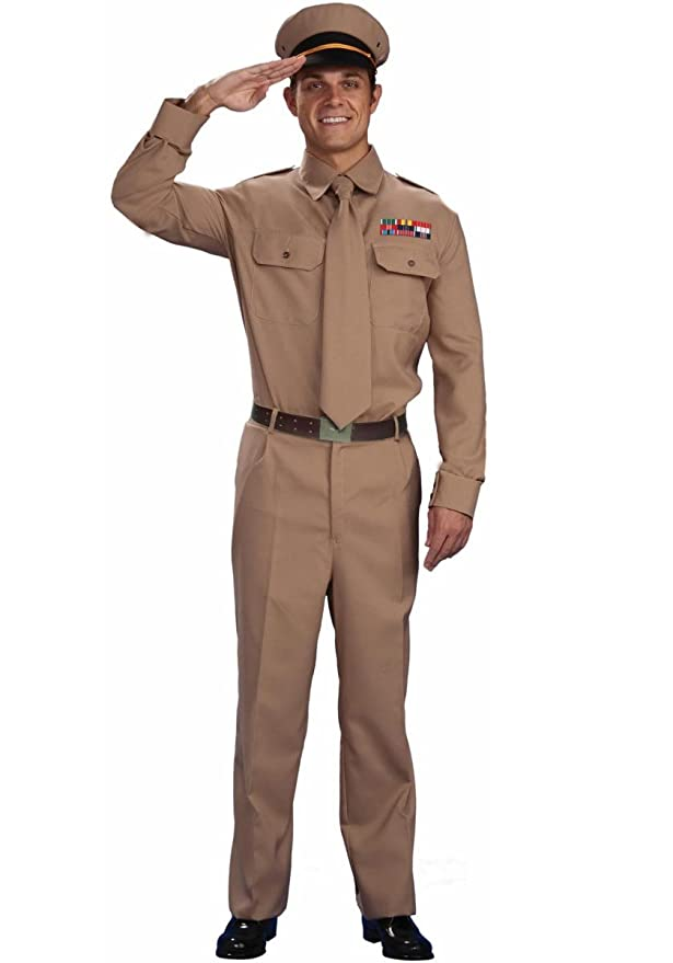 1940s Men's Costumes: WW2, Sailor, Zoot Suits, Gangsters, Detective  World War II General Costume Adult Plus Size Forum Novelties $47.80 AT vintagedancer.com
