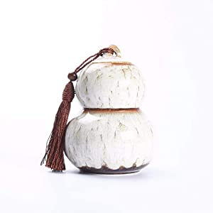 Leak proof food storage Tea Canister Ceramic Gourd Tea Caddies Tin Tea Coffee Sugar Canister Tea Party Decorations Food Jar air tight highly (Color : White)