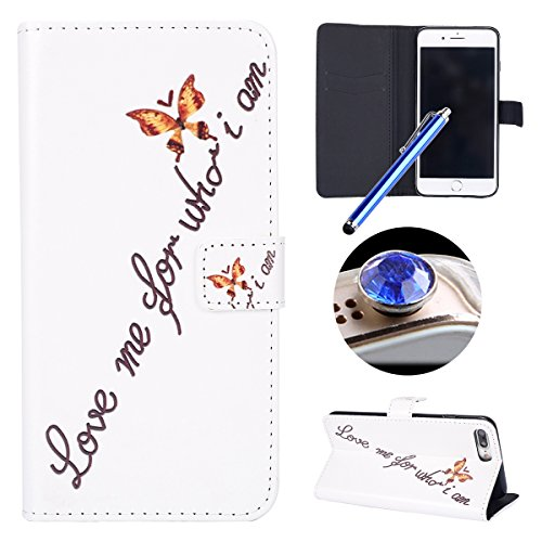 Funda para [iPhone 7 Plus] ,ETSUE PU Cuero Cover Case para iPhone 7 Plus,Funda de Cuero Pintado de Moda Patrón con la Mariposa Protector de Funda para telefono movil para iPhone 7 Plus + 1 x Blue Styl Mariposa de oro