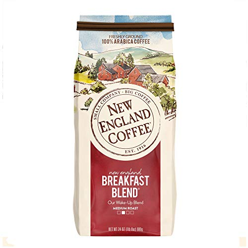 New England Coffee, New England Breakfast Blend, Medium Roast Ground Coffee, 24 Ounce -