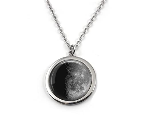 Personalized Birth Moon Stainless Steel Silver Necklace with 1 3 or 4 Custom Birthday Moon Phase Charms 2