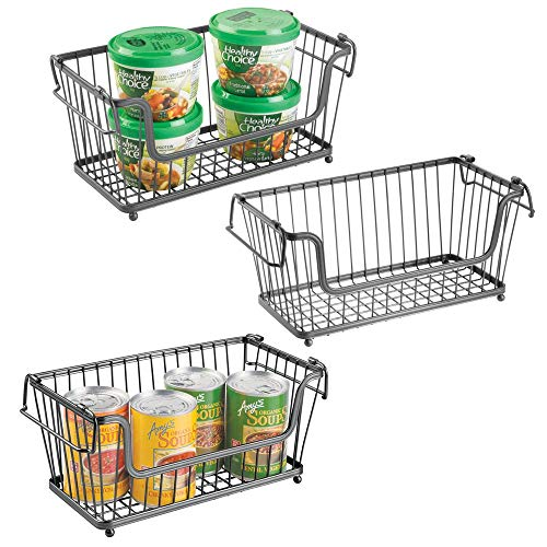 (mDesign Modern Farmhouse Metal Wire Household Stackable Storage Organizer Bin Basket with Handles, for Kitchen Cabinets, Pantry, Closets, Bathrooms - 12.5