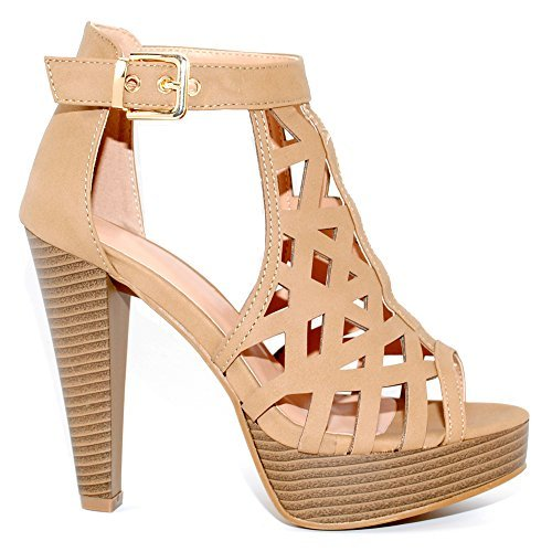 (TRENDSup Collection Open Toe Ankle Strap Sandal - Western Bootie Stacked Heel Open Toe Cutout Shoes (5, Tan))