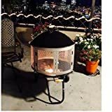 Outdoor Fireplace ,Patio Fire Pit Ring , Metal Portable Modern Design , Large W/ Wheels , Outdoor Wood Burning Fireplace , Yard Garden Pool & eBook by Easy2Find