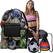 """DailyTreasures 2 Pack Soccer Ball Bag , 30"""" x 40"""" Large Heavy-Duty Mesh Bag, with Side Zip Pocket-Dr"""