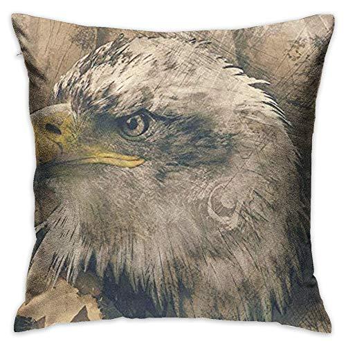 Throw Pillow Cover Portrait of Bald Eagle Decorative Pillow Case Decor Square 18x18 Inch Cushion Pillowcase