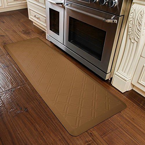 WellnessMats MM62WMRTAN Moire Motif Kitchen Mat, 72'' by 24'', Tan by WellnessMats (Image #2)