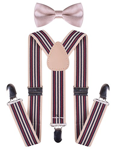 Baby Take A Bow Costume (Baby Suspenders and Bow Ties Sturdy Y Back Wedding Braces for Kids Boys Girls)