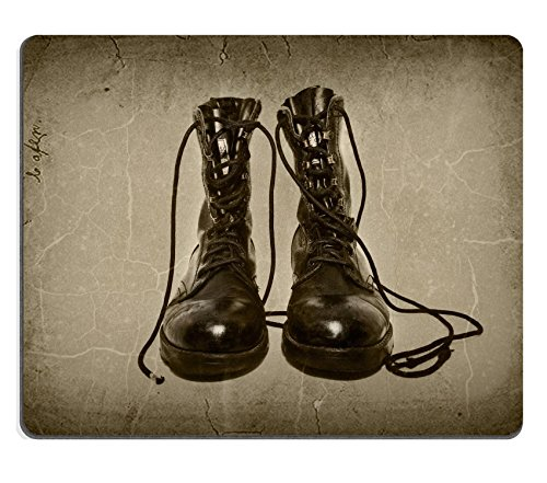 Mousepads military boots on aged background retro effect applied on them IMAGE ID 30986462 by Liili Customized Mousepads Stain Resistance Collector Kit Kitchen Table Top Desk Drink Customized Stain Resistance Collector Kit Kitchen Table Top Desk