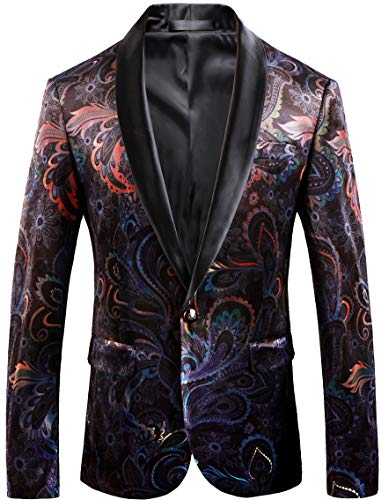 Velvet Vintage Blazer (Vintage Men Blazer Slim Fit Floral Fashion Velvet Suit Jacket Wedding Tuxedo Colorful Tag Size 52)