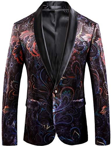 Vintage Men Blazer Slim Fit Floral Fashion Velvet Suit Jacket Wedding Tuxedo Colorful Tag Size 52 Burgundy