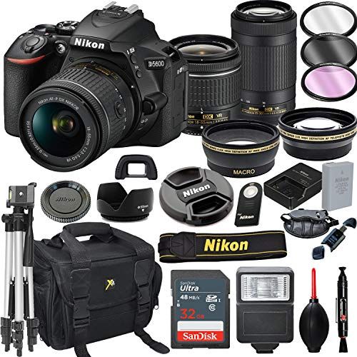 Nikon D5600 DSLR Camera with 18-55mm VR and 70-300mm VR Lenses + 32GB Card, Tripod, Flash, and More (21pc Bundle)