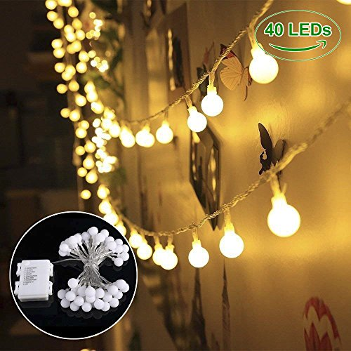 Globe String Lights, 40 LED Waterproof Decorative String Lights Outdoor, IP 65, Battery Operated Starry Fairy Lights for Patio, Christmas, Garden, Wedding, Parties
