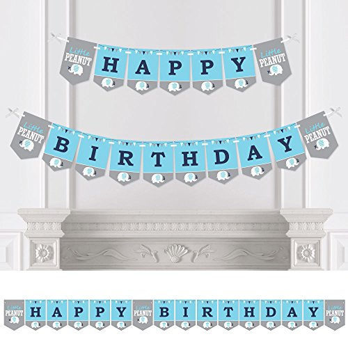 Big Dot of Happiness Blue Elephant - Boy Birthday Party Bunting Banner - Birthday Party Decorations - Happy Birthday -