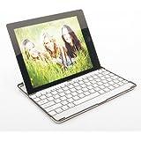 Bluetooth 3.0 Wireless Keyboard Aluminium Aluminum based Cover Case Stand for iPad 2, ipad2 - White / silver