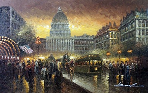 100% Hand Painted Washington DC Sunset 1800's Capitol City Streetcar Canvas Oil Painting for Home Wall Art by Well Known Artist, Framed, Ready to (Capitol Washington Dc Framed Art)