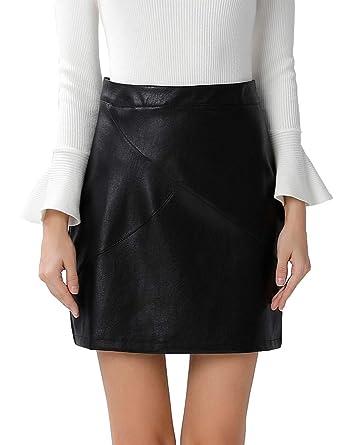 423749206f36 GUANYY Women s Faux Leather Vintage High Waist Classic Slim Mini Pencil  Skirt(Black