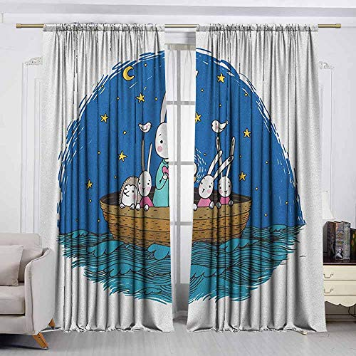 VIVIDX Rod Pocket Blackout Drapes,Kids,Little Bunnies and Hedgehog Floating in a Boat on The Wavy River Under a Night Sky,for Bedroom,Nursery,Living Room,W63x45L Inches Multicolor -