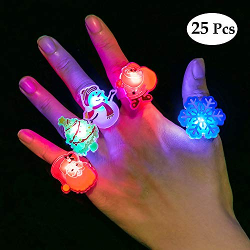 BUDI 25Pcs Christmas Party Favors LED Finger Lights for Kid & Adults Light Up Rings Stocking Stuffers Light Up Toys Rings Party Decorations Assorted Styles with Gift Package -