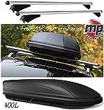 Aerodynamic Lockable Aluminium Roof Rack Rail Bars & 400L Box to fit Kia Sportage (QL) 2016 (+ Free MP Air Freshener)