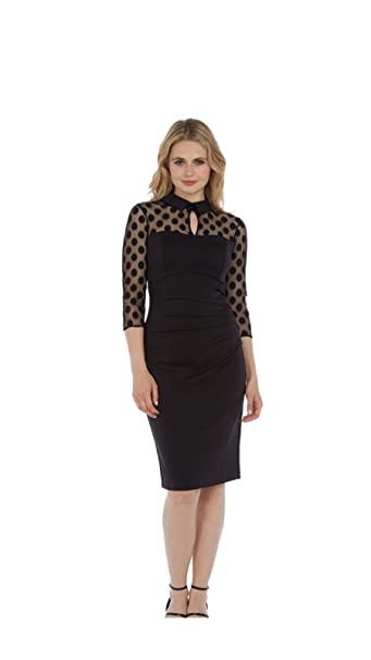 bc4d35e572df Womens Ladies ASOS pizzo manica lunga vestito matita nero SZ 8 – 18 Black 36