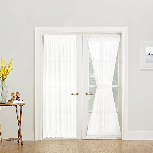 jinchan White Sheer French Door Panels Privacy 2 Panels Linen Textured French Door Curtains Solid Sliding Door Curtains W52 x L72 -inch, Matching 2 Tie Backs Included