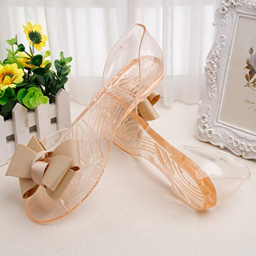 Top-Sell 2017 Ms Bowknot Fish Head Soft Sole Sandalias Transparente Jelly Slip-on Beach Slipper La Moda albaricoque