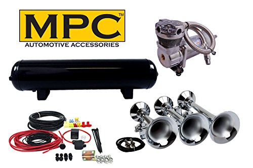 MPC Train Horn kit for Trucks and Cars. [Complete Kit] 3 Chrome Train Horn Trumpets in Flat Rack, 12 volt 200 PSI Air System with 100% Duty Cycle Air Compressor & 4 Gal Tank & Fittings - Real Deal! (Real Compressor)