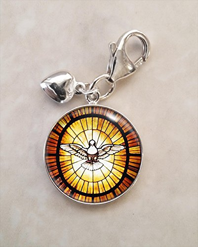 Peace Dove Stained Glass Image Sterling Silver Charm (Image Dove)