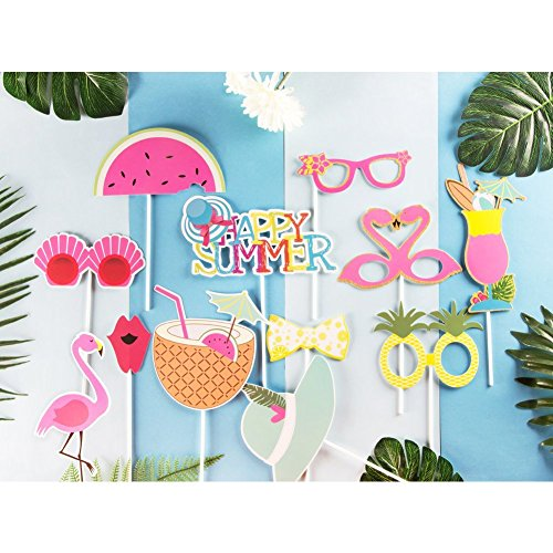 (Paper jazz Summer Party Photo Booth Props Kit Flamingo Pineapple for Luau Tiki Party Hawaiian)