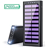 Solar Charger 24000mAh Portable charger, TSSIBE Solar Power Bank with LED Flashlight,Multiple USB
