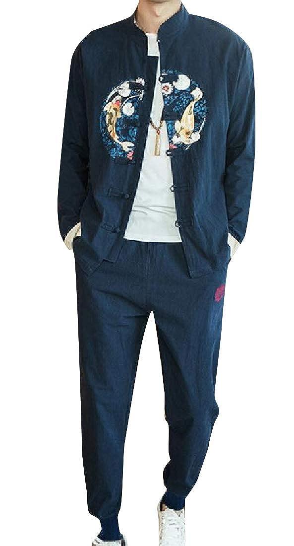 Winwinus Men Classic Fit Kung Fu Woven Shirt Harem Pant 2 Piece Set
