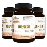 Botaniceutics Organic Turmeric and Black Pepper (Curcuma longa) - 270 Capsules - 500 Mg - 3 Bottle Pack. No additives, no fillers. Natural curcumin and pepperine for natural, good health.
