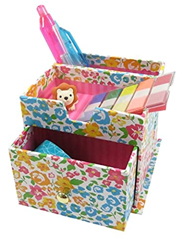 Floral Pencil Pen Holder with 3 Compartments Paperboard 4 x 3.5 Pink Blue Yellow (Martha Stewart Round Corner)