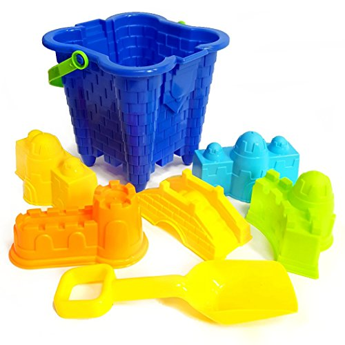 Bucket and Spade 7pc Set For The Beach and Sand Pit - Assorted Colour ()